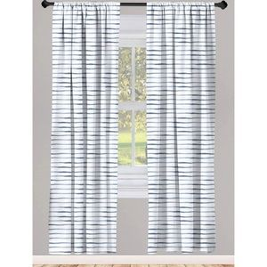 Ambesonne Harbour Stripe Curtains 2 Panel Set New